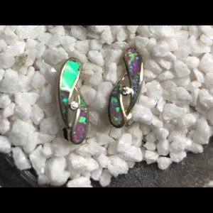 Sterling and opal earrings